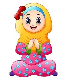 Voeux de dessin animé enfant musulman