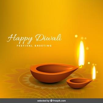 Voeux de diwali avec deux flammes