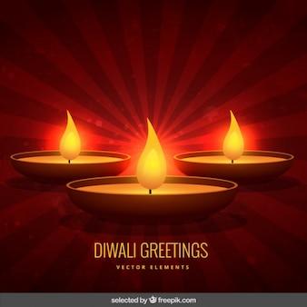 Voeux de diwali avec un fond rouge