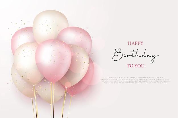 Voeux de joyeux anniversaire avec illustration de ballons