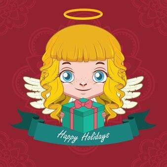 Voeux de noël avec un ange heureux tenant un cadeau