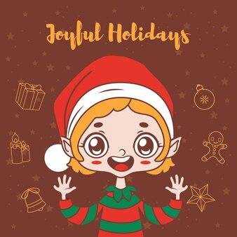 Voeux de noël avec elfe joyeux dessin animé