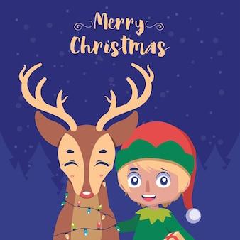 Voeux de noël avec elfe et renne heureux