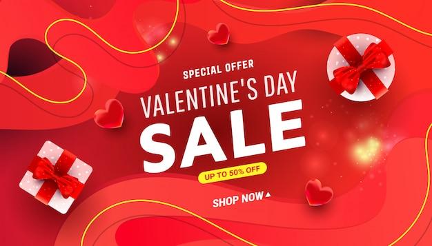 Voeux saint valentin avec des boîtes surprise. modèle de promotion de réduction de vente d'amour.