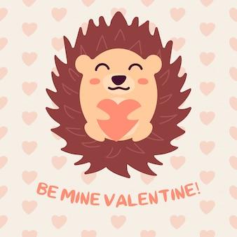 Voeux saint valentin avec hérisson et coeur