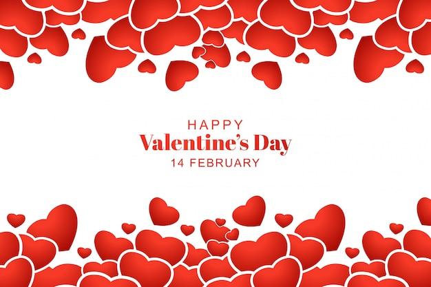 Voeux de saint valentin heureux avec la conception de coeurs décoratifs