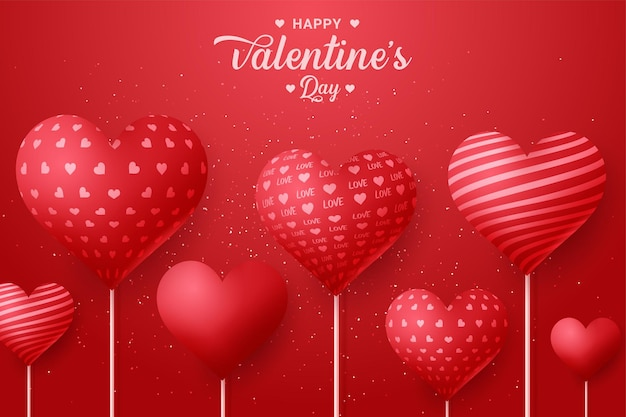 Voeux de vacances pour la saint-valentin avec fond coeur ballon