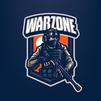 Voici le logo de la mascotte du soldat. ce logo peut être utilisé pour les logos sports, streamer, gaming et esport.