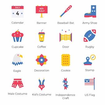 Voici un pack de vecteurs de la fête de l'indépendance américaine, conceptualisant la célébration du 4 juillet au moyen de visuels accrocheurs. prenez-le et utilisez-le selon les besoins de votre projet.
