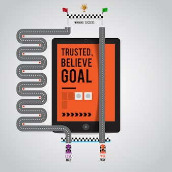 La voie du succès dans un dispositif de marketing en ligne comme internet sur tablette smartphone