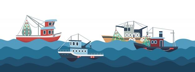 Voile et bateaux de pêche dans l'illustration des vagues de l'océan