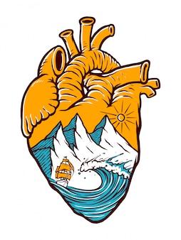 Voile dans mon illustration de coeur