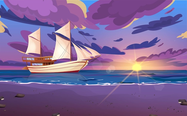 Voilier avec drapeaux noirs. voilier en bois sur l'eau. coucher ou lever de soleil