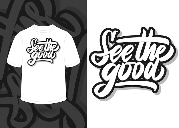 Voir les bons mots de motivation lettrage à la main, conception de t-shirt