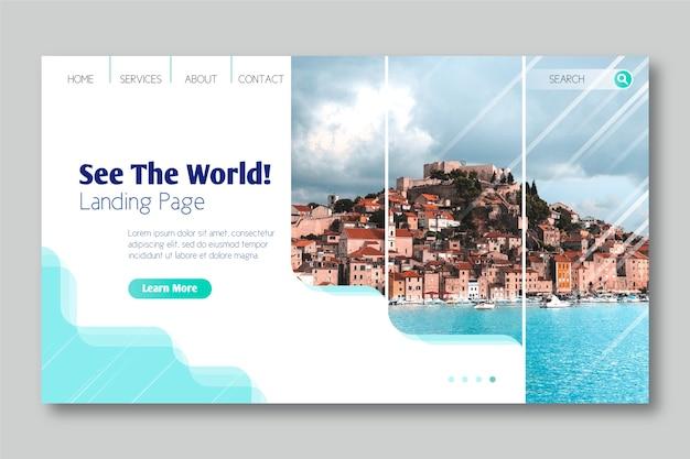Voir La Page D'atterrissage Du Monde Vecteur gratuit