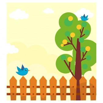 Voir le paysage de la clôture des oiseaux et des arbres dans l'après-midi