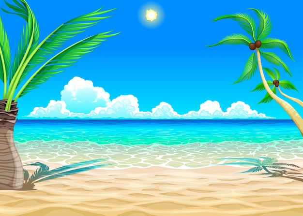 Voir sur la plage vector cartoon illustration