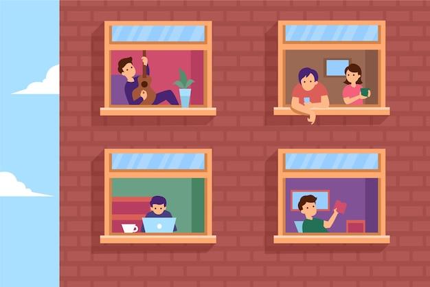 Voisins sur les balcons ou les fenêtres