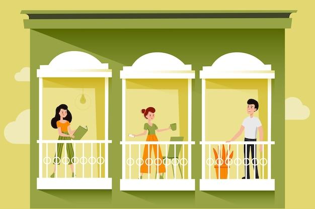Voisins sur les balcons pour la quarantaine