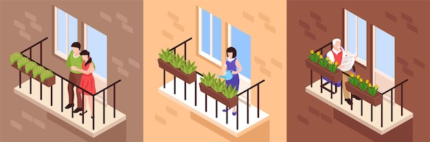 Voisins et personnes aux balcons mis en illustration
