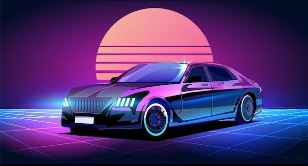 Voiture d'affaires cyberpunk dans le style retrowave des années 80 éclairée avec illustration au néon