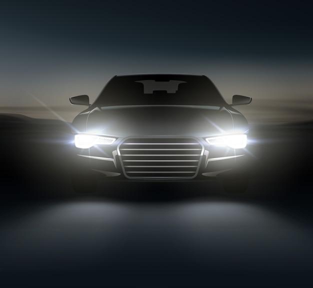 Voiture allume une composition réaliste de paysages de banlieue de nuit et silhouette automobile élégante avec des phares blancs et des ombres