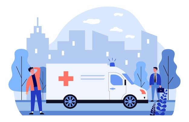 Voiture d'ambulance se déplaçant sur rue avec sirène bruyante