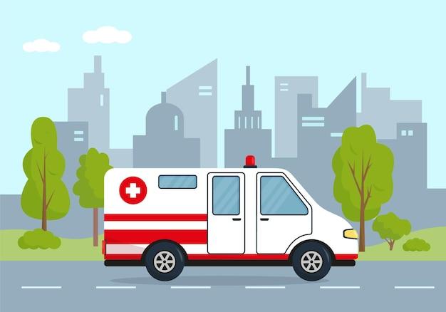 Voiture d'ambulance en ville