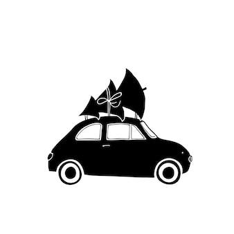 Voiture ancienne avec arbre de noël sur le dessus illustration noire sur vecteur de pochoir fond blanc