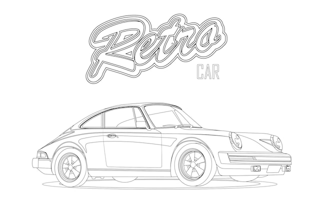 Voiture ancienne. voiture de sport. avec signe voiture rétro. page de livre de coloriage.