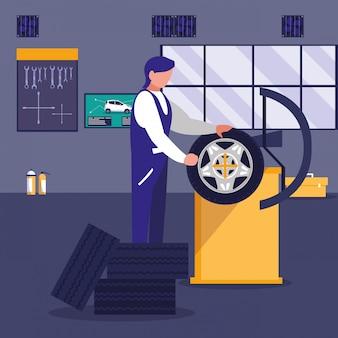 Voiture en atelier de maintenance avec mécanicien