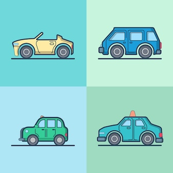 Voiture automobile cabriolet cabriolet taxi cab mini bus berline hayon ensemble de transport cool