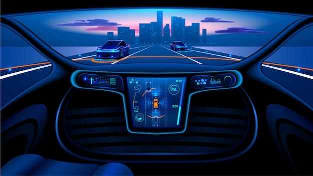 Voiture autonome dans la ville sur l'autoroute. l'écran affiche des informations
