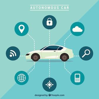 Voiture autonome futuriste avec un design plat