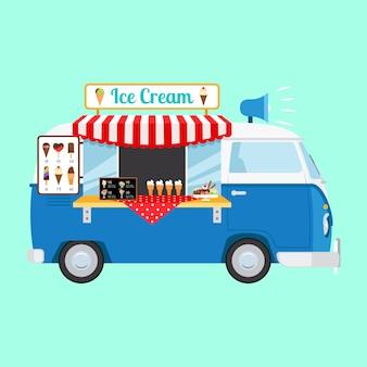 Voiture de bande dessinée de crème glacée