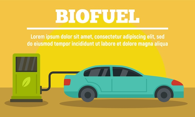 Voiture à la bannière de la station de biocarburants, style plat