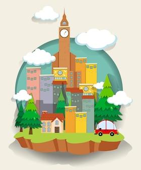 Voiture et bâtiments sur petit terrain