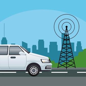 Voiture berline blanche avec antenne de télécommunications