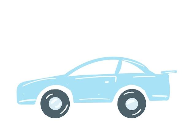 Voiture bleu clair voiture isolée dessinés à la main style cartoon vector illustration transport personnel