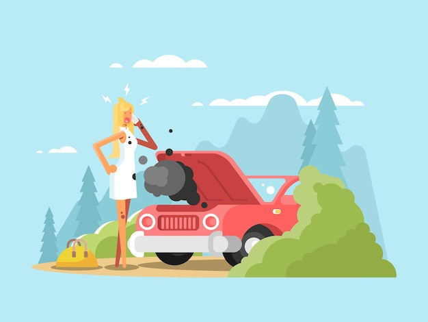 Voiture blonde et cassée. conducteur de jeune femme sur route, illustration vectorielle