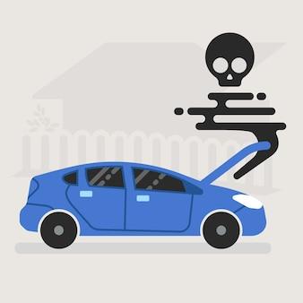 Une voiture brisée meurt sur la route avec une illustration de fumée noire.