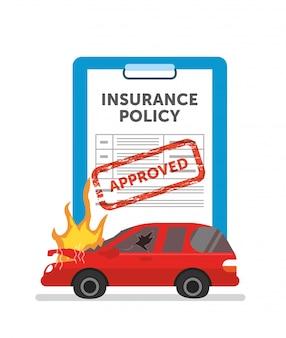 Une voiture brûle mais obtenez l'assurance