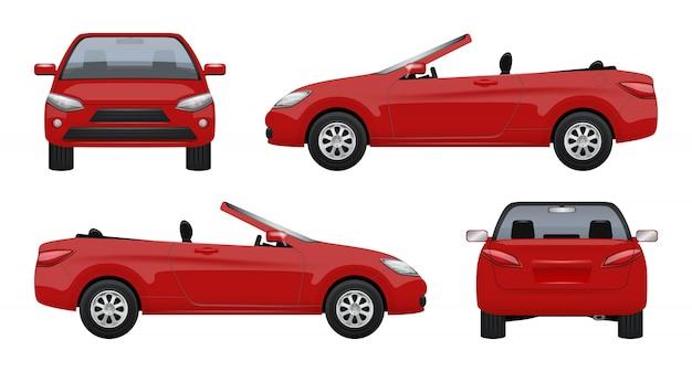 Voiture cabriolet, véhicule de luxe, super voiture de sport, cabine de travail sur route réaliste