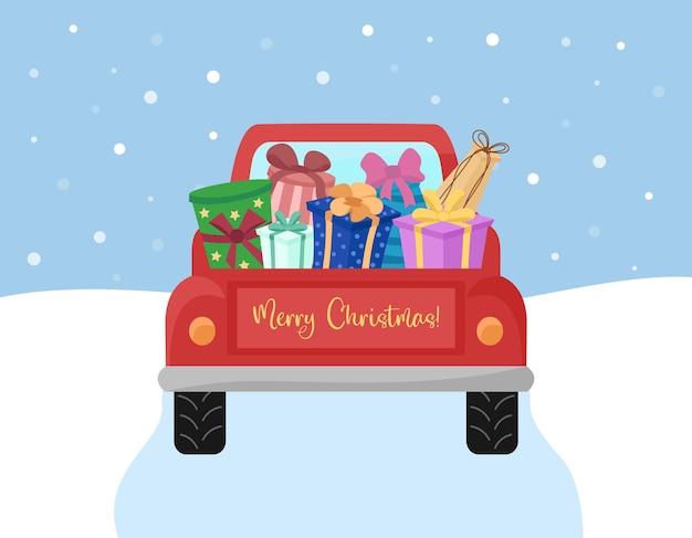 Voiture de camion rouge transportant des cadeaux