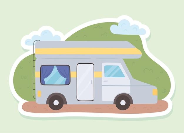 Voiture caravane sur paysage
