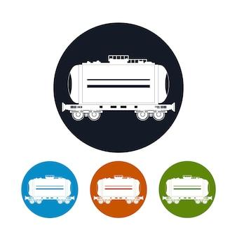 Voiture de chemin de fer d'icône le réservoir, illustration vectorielle