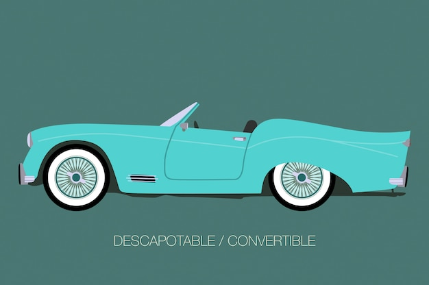 Voiture classique bleue, vue de côté de voiture, automobile, véhicule automobile