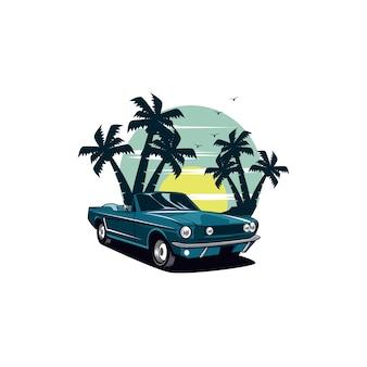 Voiture classique et plage de palmiers
