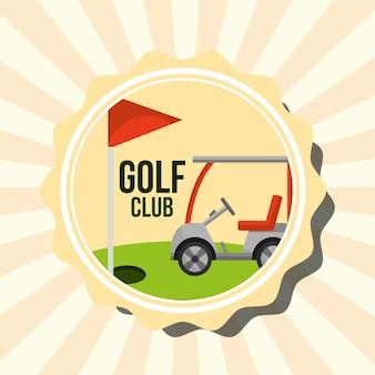 Voiture de club de golf rétro et timbre drapeau rouge