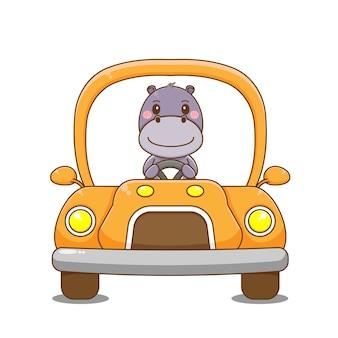 Voiture de conduite de caractère hippopotame.